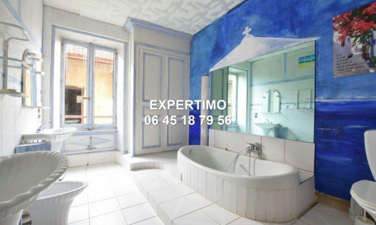 Maison en pisé avec 4 chambres sur grand terrain plat avec piscine à Voissant